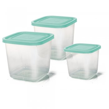 CONJ MANTIMENTO QUADRADO - 3 PCS - TRANSPARENTE - 2100 / 1100 / 550 ML
