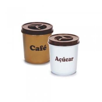 Conjunto Mantimentos Redondo Tampa c/ Rosca Café / Açúcar 2 peças - 1000 ml