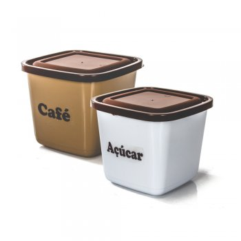 CONJ POTE MANTIMENTO QUADRADO - 2 PCS-  CAFE/ACUCAR -2100 ML