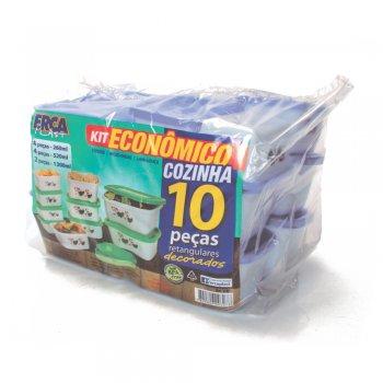 KIT COZINHA ECONOMICO 10 PCS - RETANGULAR DECORADO