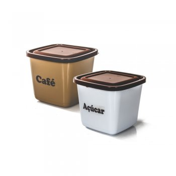 CONJ POTE MANTIMENTO QUADRADO - 2 PCS-  CAFE/ACUCAR -1100 ML